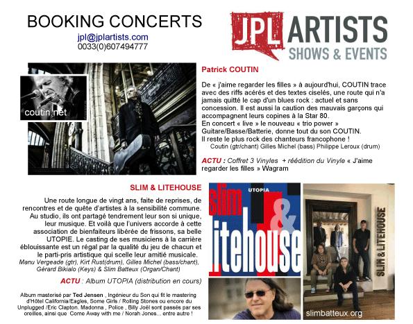 JPL Artists booking 2019